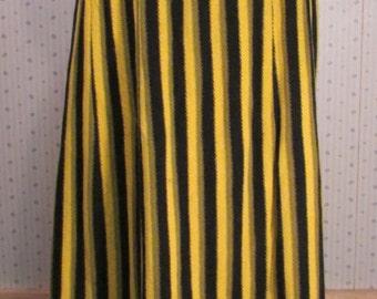 Vintage 1960s Dior Paris Maxi Skirt Yellow and Black Stripe Knit Wool Designer Christian Dior Boutique France Authentic Original Med