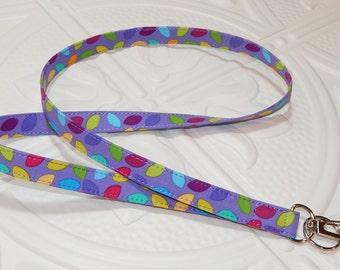 Lanyard - Fabric Lanyard - Teacher Lanyard - Purple