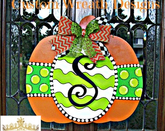 Wood Pumpkin Monogram Door Hanger