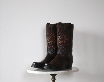 Cowboy Boots - Men's 9 9.5 - Leather Brown RAINBOW Red Yellow Green Blue - 1980s VINTAGE