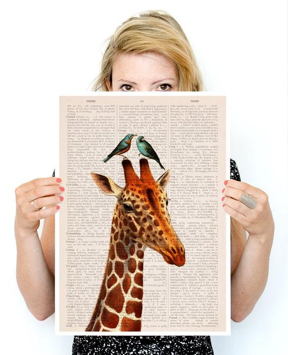 Honeymoon Giraffe poster, Wall art  Nursery art , Giclee poster, Animal art, poster print ANI006PA3