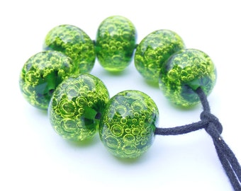 Sage and lime green lampwork bubble beads - set of 7 lampwork beads