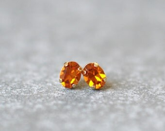 Mandarin Topaz Earrings Swarovski Crystal 8mm Oval Petite Studs Super Sparklers Small RARE Vintage Orange Wedding Earrings Mashugana