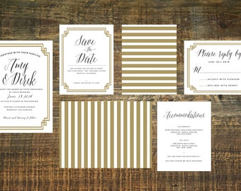 The Great Gatsby Invitation Suite (Set of 25) | Art Deco Invitation, Wedding Invitation Set, Gold Invitation