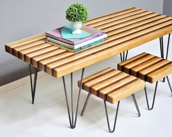 Hand-Crafted Walnut Coffee Table and Foot Stools with Hairpin Legs