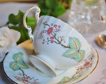 Pretty Aynsley Tea Cup and Saucer, Green Leaf Red Florals, England