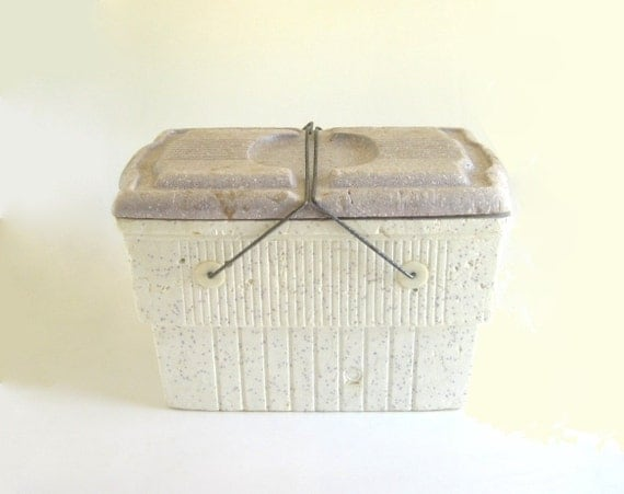 Vintage Styrofoam Cooler Large Foam Ice Chest 1960s 1970s Metal Handles White Blue Lid