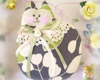 Cat Pillow Cat Doll, 7 inch, Ecru, Dark Grey Lime Decorator Fabric, Primitive Soft Sculpture Handmade CharlotteStyle Decorative Folk Art