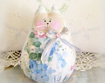 Cat  Doll 6 inch Free Standing Kitty, Blue Soft Floral, Soft Sculpture Doll Primitive Handmade CharlotteStyle Decorative