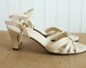 Cream Ankle Strap Peep Toe Sandals 8