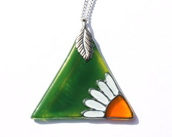 Green Triangle Pendant with Daisy Design, Hand Painted Glass Necklace, Green Glass Daisy Necklace, Unique Glass Jewelry