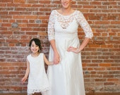 Plus Size Wedding Dress Silk, lace and Silk wedding dress, V-neck Wedding Dress, Illusion neckline, Silk A-line Gown Wedding Dress Eco