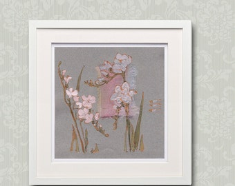 Mauve freesia - Lilac, pale pink - Painting on paper and fabric - light green, grey, gold, mauve spring flowers - original floral art - OOAK