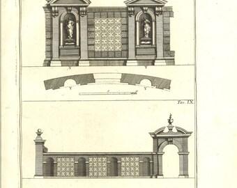 1760 Palladio Architectural Print, Italian Renaissance Architecture Antique Engraving