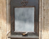 Black French Message Center - vintage style French chalkboard with chalk holder, key hooks and shelf by Arcadian Cottage