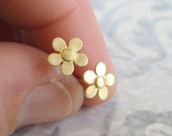 Gold flower stud earrings , Small flower studs , Brushed matt gold flower post earrings , Handmade by Adi Yesod