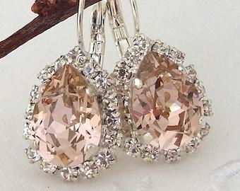 Blush earrings,Blush drop earring,Blush pink bridal earrings,blush pink bridesmaid earring,Swarovski,blush pink wedding,crystal earring