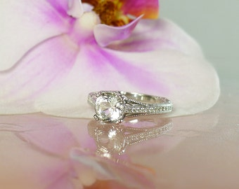Art Deco Ring Design, Art Deco Ring, Antique Style Ring, Herkimer Diamond, Engagement Ring, Diamond Alternative, Conflict Free Ring