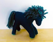 Wool Horse in Teal, Hand Sewn Stuffed Animal, Heirloom Toy for Children