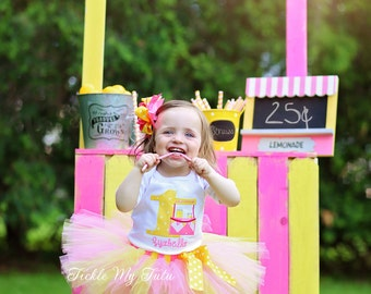 Pink Lemonade Stand Birthday Tutu Outfit-Pink and Yellow Lemonade Stand Birthday Tutu Set-Lemonade Party Outfit *Bow NOT Included*