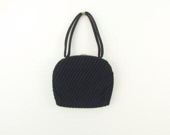 Midnight Evening Bag - Vintage 1950s Pleated Navy Purse Handbag by Nu-Craft Original