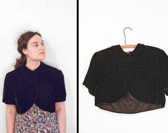 Black Velvet Capelet 1950s Short Sleeve Peter Pan Collar 3 Button Mini Cape