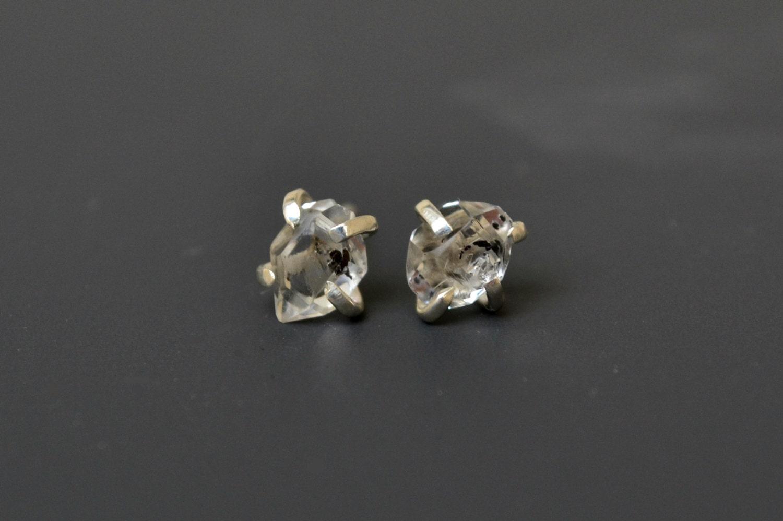 Sterling Silver Raw Herkimer Diamonds Stud Earrings