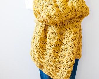 crochet throw afghan crochet blanket - mustard