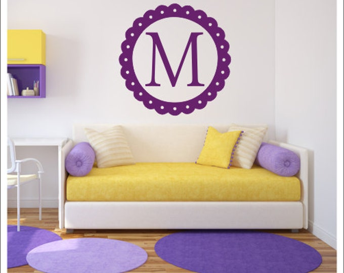 Personalized Wall Decal Scalloped Border Initial Frame Vinyl Wall Decal Girls Nursery Decal Bedroom Decal Dorm Room Teen Girl Monogram