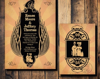 Halloween Wedding Invitation Set, Skeleton Bride & Groom Invitation Printable, Gothic Wedding Invitation, Til Death Do Us Part, Steampunk
