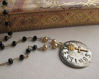 Blessings pendant necklace with black spinel rosary chain, champagne glass pearls, and vintage rhinestone rondelles