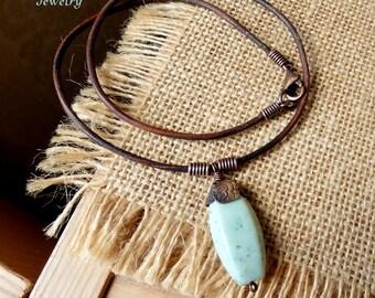 Mint Green Stone Pendant, Women's Leather Necklace, Green Gemstone Hexagon, Simple Necklace, Metalwork Jewelry, Boho Jewelry