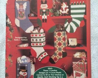 PLASTIC CANVAS Christmas Stocking, Holiday Stocking, The Needlecraft Shop Pattern Leaflet 953946