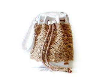 White and Beige Crochet Bucket Bag, Vegan Bag, Bucket Bag Purse