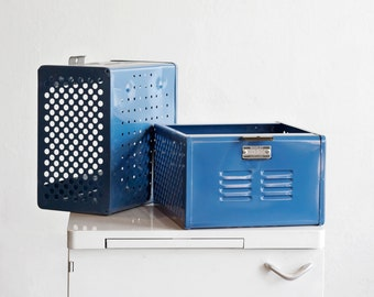 1950s Reclaimed Locker Basket Refinished in Moon Blue