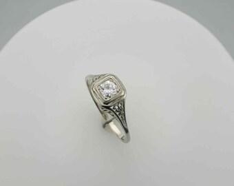 Edwardian Filigree Diamond Ring 14 Karat White Gold  Engagement Ring, Right Hand Ring with 0.35 Carat Diamond