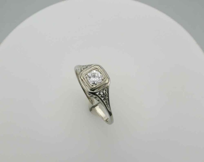 Edwardian Filigree Diamond Ring 14 Karat White Gold  Engagement Ring, Right Hand Ring with 0.35 Carat Diamond