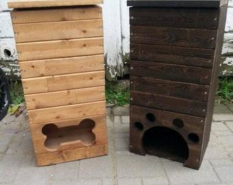 wood dog toy box / pet toy storage / handmade/ pawprint or bone shape /  dog toy storage /