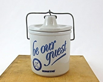 Stoneware Cheese Crock / Be Our Guest, Kinetic Company / Advertising Cheese or Butter Crock
