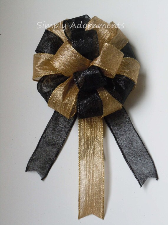 Black Gold Party Graduation Party Decoration Black Gold Wedding Pew Bow Black gold Topper Gift Bow