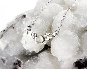Moonstone Feather Wing Necklace in Sterling Silver
