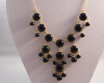 Bib Necklace wirh Gold and Black Bead Pendants on a Gold Tone Chain