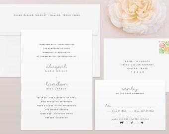 Minimal Wedding Invitation & RSVP Set - Minimal Wedding Invitation, Minimalistic Wedding Invitation, Minimalist Wedding Invites