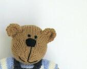 New Baby Gift - Toddler Gift Toy - Knit Bear - Kids Toy - Boy Toy - Child Toy Gift - Stuff Teddy Bear - Stocking Stuffer- Knit Toy - Carter