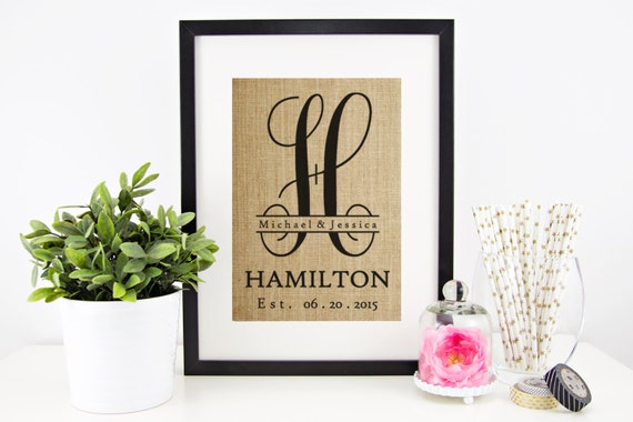Monogram Wedding Gift Ideas: Burlap Monogram Monogrammed Gifts Personalized Wedding