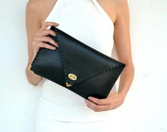 Black Leather clutch/  Leather handbag /  Italian leather / Envelope clutch
