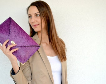 Purple leather clutch / Purple leather bag / Croco leather purse / Leather handbag
