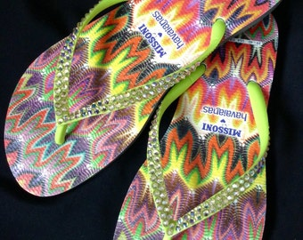 Custom Missoni Havaianas Slim Flip Flops w/ Swarovski Crystal RARE collector rainbow Multicolor Rhinestone Jewels Beach Sandal Thong  Shoes