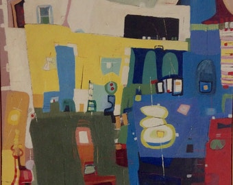 Abstract Painting by Robert English, 1960s San Francisco Artist
