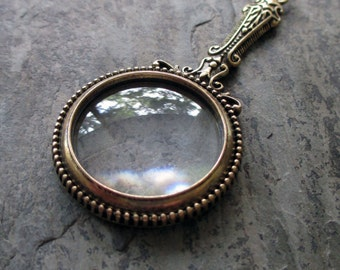 magnifying glass pendant neo Victorian vintage style antiqued miniature bubble assemblage jewelry supply